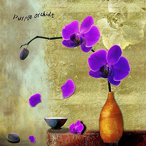 Quadro stampa su tela – orchidee aux viola pittura di fiori astratti decorazione da parete – 40x40 cm