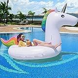 BAYMERY Aufblasbares Einhorn XXL Pool Luftmatratze für 2-3 Personen | 2,75 Meter lang | Breite Luft-Ventile | Riesiges Einhorn Schwimmtier Floß | Wasser Schwimmen Spielzeug | (275 x 140 x 120cm)