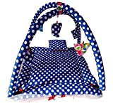 #5: Happy Kids Baby Play Gym with Beautiful White Polka Dots, Mosquito Net, Portable, Foldable