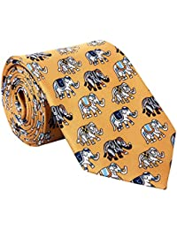 Rohit Bal Men's Pure Silk Tie- Pocket Square - Packed in nice wooden box - Yellow (Free Size)
