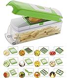NOVEL Vegetable & Fruit Chipser With 11 Blades + 1 peeler inside, vegetable chopper, vegetable slicer, (GREEN)