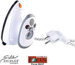Sichler Haushaltsgeräte Reise Dampf Bügeleisen: Kompaktes Dampfbügeleisen für Reise & Urlaub, 110 & 230 Volt (Dampfglätter)