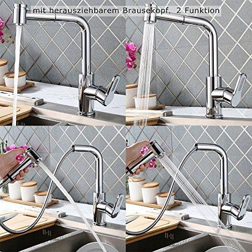 Homelody – Küchenarmatur mit herausziehbarer Brause, 360° drehbar, Chrom - 3