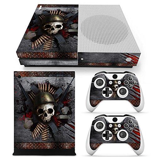 ZoomHit Xbox One S Konsole Skin Sticker Totenkopf Metall + 2 Controller Skins Set (nur S)