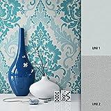 NEWROOM Barocktapete Tapete Türkis Ornament Barock Vliestapete Vlies moderne Design Optik Barocktapete Wohnzimmer Glamour inkl. Tapezier Ratgeber
