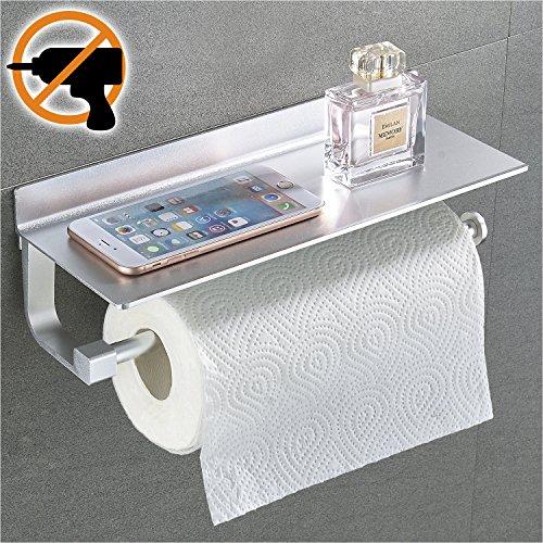 Wangel Rollenhalter Wandrollenhalter für Küchenkrepp ohne Bohren, Patentierter Kleber + Selbstklebender 3M-Kleber, Aluminium, Matte Finish, Papierrollenhalter Küchenrollenhalter (Feste Rollenhalter)