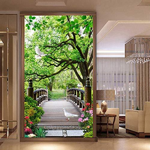 Tapete Wandbild 3D Vision Holzbrücke Vlies Wandaufkleber Für Schlafzimmer Wohnzimmer Küchen Wandkunst Dekoration Poster 140x100cm