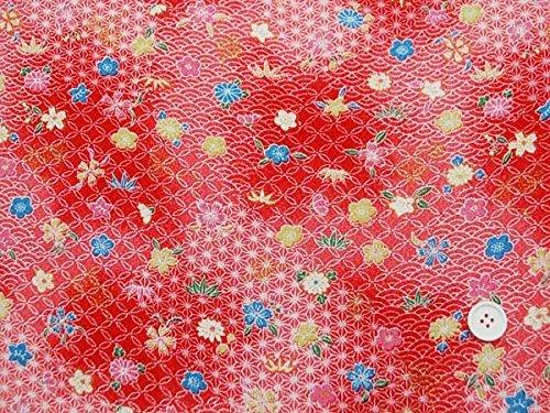 Hiromi House Japan Rayon chirimen Yuzen doré Bambou/Fleur de Cerisier/Chanvre/Prune/Crayon/chrysanthème/Marron/Bleu Vagues Rouge 70 cm x 50 cm