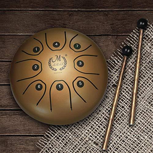 Tambour Handpan Brahma à languette Mmbat en acier mebite - 14 cm - Petit tambour ; Instrument de musique avec baguettes et sac de style national doré Img 1 Zoom