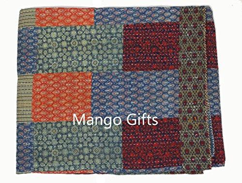 Asian-queen-size-quilt (Geschenke Mango Handblock Print ajrak Patchwork Kantha Quilt Baumwolle Ralli Queen Size Gudri Überwurf)