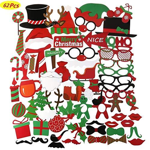 62Stück Weihnachts Foto Requisiten Photo Booth Set Für Party Zubehör Und Weihnachts Dekorationen,Nikolausmütze,Party Masken,Foto Requisiten,Schnurrbart Auf Einem ()