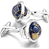 Peora Valentine Gifts for Men Stylish Really Spins Globe Earth Blue Formal Cuff Links Cufflinks Set