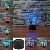 Lámpara de avión 3d ilusión óptica luz nocturna, rquite 7cambia de color Touch mesa lámparas de escritorio con base de ABS y acrílico soporte de & cable usb para regalo.