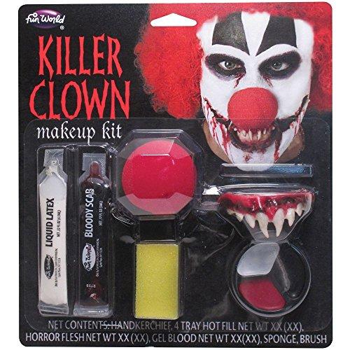 set trucco clown horror IT Pennywise. Include dentiera, lattice, sangue, spugna e tre colori trucco. ISTRUZIONI IN LINGUA INGLESE