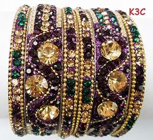 Tyagi Craft Indian Bollywood Bridal Fancy Crystal Asian Jewellery Purple Bangles Kada Bracelets
