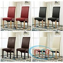 Set de 2 sillas de comedor piel sintética, respaldo alto de desplazamiento parte superior para el hogar y comercial restaurantes [marrón] (D)