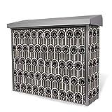 Burg-Wächter Edelstahl Briefkasten | Modell Inoxstar 4700 Ni 38,5 x 31,5 x 12cm | witterungsbeständig, mit Zylinderschloss, 2 Schlüssel, Montagematerial | Motiv Federn SW mit silbernem Standfuß