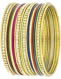 The Jewelbox Ethnic Slim Light Weight Cubic Zirconia 18k Gold Plated Brass Bangle Kada Set Of 20 Women - B078MZ6W7B