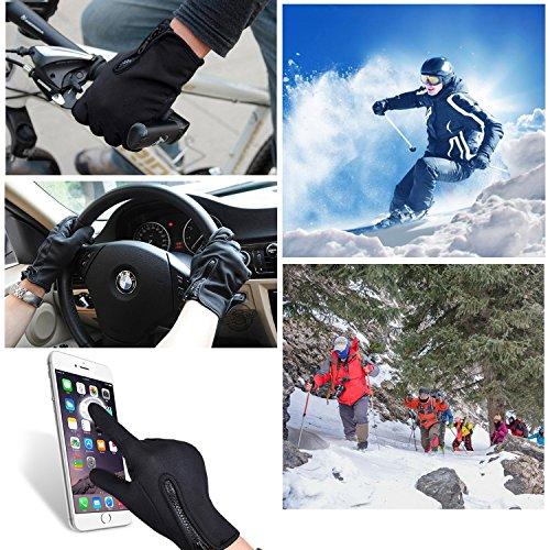 Touchscreen Handschuhe, Aodoor (Grösse L) Herbst Winter Unisex Warme Fahrradhandschuhe Winddicht und Touchscreen für Smartphone Sport Handschuhe Motorrad Jagd Kletter Handschuhe, Schwarz - 7