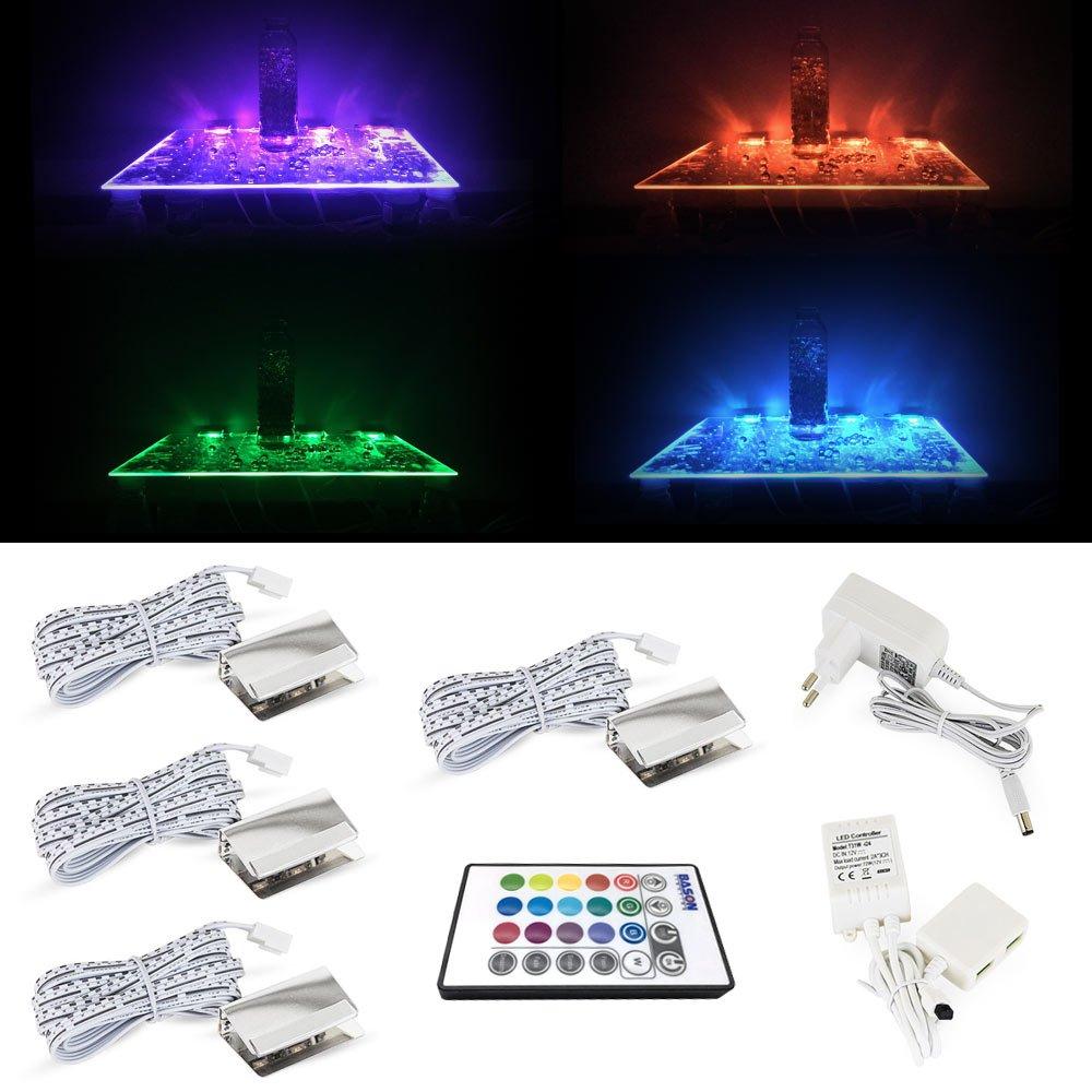 LED Glaskantenbeleuchtung RGB-Farbwechsel mit 4 Clips LED ...