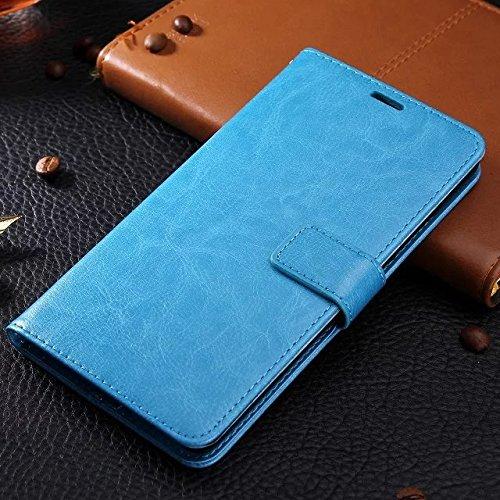 Wkae Case Cover Huawei 6x Fall feste Folio magnetische Design Flip Brieftasche Stil Fall Farbmuster PU-Leder-Abdeckung Standup-Abdeckungsfall für Huawei 6x ( Color : Brown , Size : Huawei 6x ) Blue