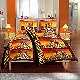 Bertels Textilhandels GmbH Mikrofaser Bettwäsche 135x200 cm 4 teilig Afrika Tiger Sonnenuntergang