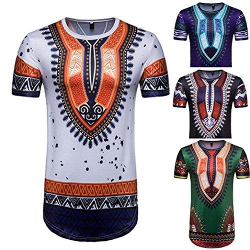 T-Shirt Africain, Malloom Chemise à Manches Courtes à Manches Courtes pour Hommes