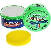 Pierre d'Argent format 500 g, parfum citron, nettoyant ménager multi-usage, éponge incluse, fabriqué en France, certifié…