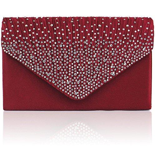 Zarla grande, da donna, per abiti da sera, da donna, con borsa per feste con busta, motivo: Sera Rosso (Bordeaux)