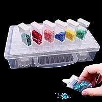 JUSTDOLIFE Diamant Broderie Box, Chaque Boîte de Rangement avec 64 Compartiments Mini, Les Grilles, 5d Diamant Outils de…