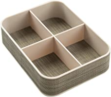 InterDesign Twillo 4-Compartment Desk Tidy Organiser Desktop Stationery Holder, Champagne