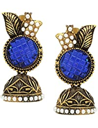 Jhumka/Jhumki | Leaf Shaped | Brass Golden Jhumka | Jhumka For Womens And Girls (JWL18, Magenta) - By The Lakh