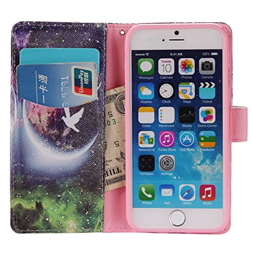 Coque Cuir Apple iPhone 6 (4.7 pouces), Fermeture Aimantée de Motif Imprimé Étui Housse en Cuir Ultra-mince Avec La Fonction Stand pour Apple iPhone 6 (4.7 pouces) +Bouchons de poussière (6BS) 13
