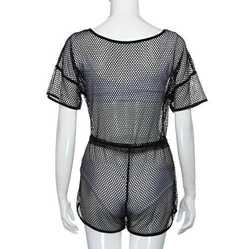 Longra Donna Dustcoat trasparente sexy della griglia del merletto Nero