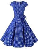 Dresstells Version 6.0 Vintage 1950's robe de soirée cocktail rétro style années 50 manches courtes Royal Blue Small White Dot XL