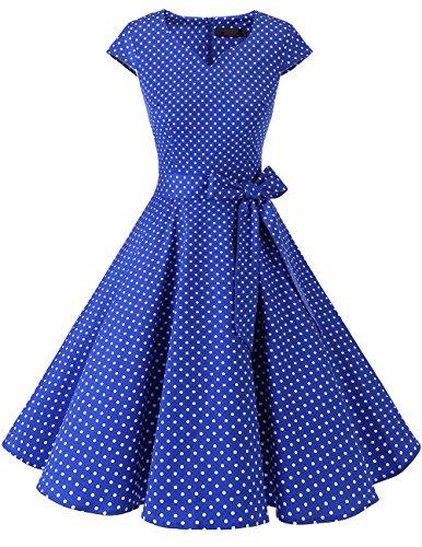 Dresstells Vintage 50er Swing Party kleider Cap Sleeves Rockabilly Retro Hepburn Cocktailkleider Royal Blue Small White Dot 2XL Royal Blue Cap