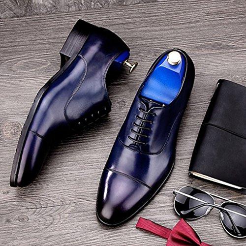 Scarpe Uomo in Pelle Scarpe in pelle uomini di stile europeo Abiti formali-Hand cucitura affari a punta stile britannico ( Colore : Caffe'colore , dimensioni : EU39/UK6 ) Blu