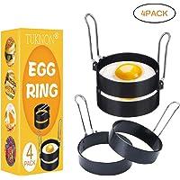 TUKNON Egg Rings  Anello di Uovo  Set di Anelli antiaderenti per Uova  4pcs Acciaio Inox frittata Stampo Cottura Antiaderente Fritto Uovo per Muffin Uovo frittelle frittate e Altro