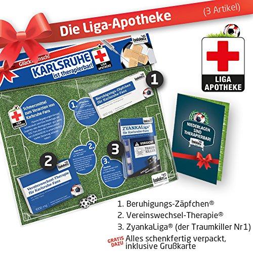 Geschenk-Set: Die Liga-Apotheke für KSC-Fans   3X süße Schmerzmittel für Karlsruhe SC Fans   Die besten Fanartikel der Liga, Besser als Trikot, Home Away, Saison 18/19 Jersey
