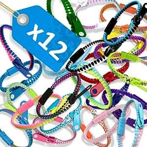 LOT 12 x Bracelet Fermeture Eclair Zip Zipper Electrolytique Multicolor Duo Transparent Rainbow Fashion Jewelry