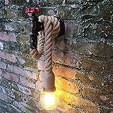 JERUI Retro Industrie Hanfseil E27 Wandleuchte Metall wasserpfeife Wasserhahn vintage Wandleuchte Restaurant Treppe gang loft industrielle lampe (Lampen nicht Enthalten)