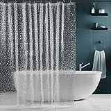 SPARIN Klar Duschvorhang Anti-Schimmel, Anti-Bakteriell, PEVA wasserdichter Badvorhang Transparent Kieselsteine mit 12 weiß Haken [Umweltfreundlich] [Waschbar] [180x180cm], Bad Vorhang für Badzimmer
