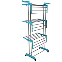 FLYNGO Stainless Steel Foldable 3 Layer Clothes Drying Rack Cloth Dryer Stand for Balcony, Home