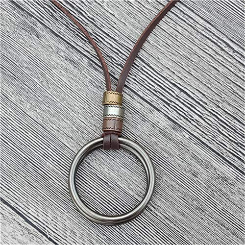 YANOAID Big Double Round Leather Men Halskette Brown Men Chain Halskette Schmuck Anhänger Männlich Zubehör