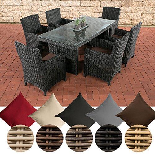 CLP Poly-Rattan Sitzgruppe FONTANA (6 Stühle + Tisch 180 x 90 cm), 5 mm RUND-Geflecht Bezug: Terrabraun, Rattan Farbe schwarz
