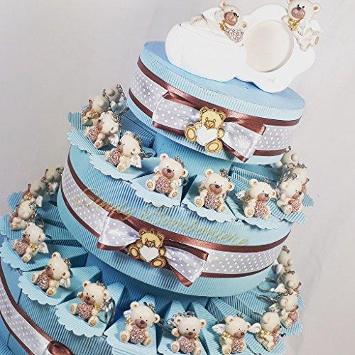 Torta bomboniera orsetti portachiavi daddyheart ideali per battesimo comunione cresima maschietto (torta 35 fette a 3 piani)