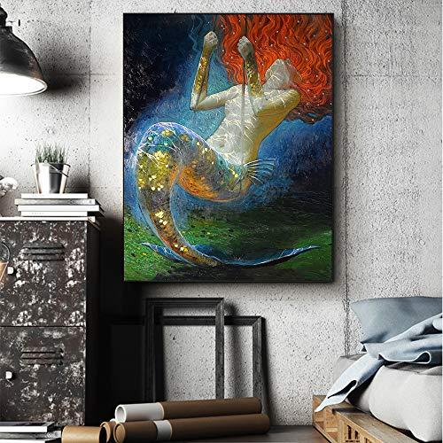 Kein Rahmen Meerjungfrau Öl ng Wandkunst Fantasie Vintage Mädchen Bild Leinwanddruck Für Wohnzimmer Wohnzimmer Schmuck Kunst 40X60 cm KEIN Rahmen