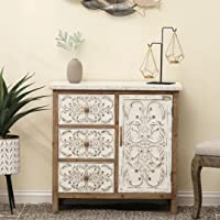 JAE Wooden Carved Chest of Drawers   Wooden Cabinet for Living Room   3 Drawer and 1 Door   Antique White Brown Finish