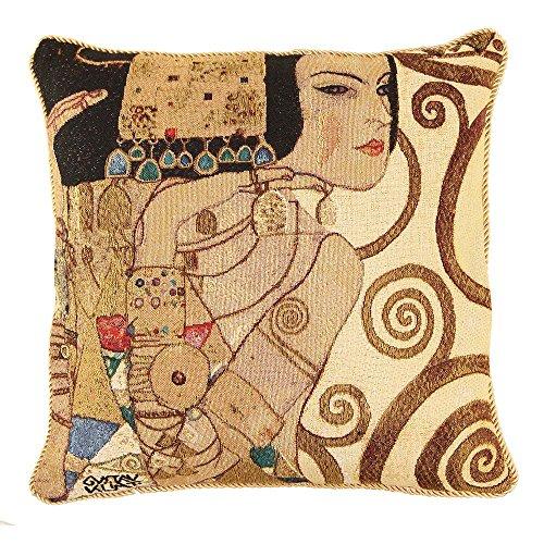 Arte federa per cuscino 45x45cm per signare - arazzo divano letto soggiorno - klimt/tree of life-lady ccov-art-klimt-1