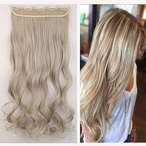 UK PNC Shopping Mall Haarverlängerung, 61 cm, , Ash Blonde mix Silver Grey, Stück: 1 Silber Haar-clips